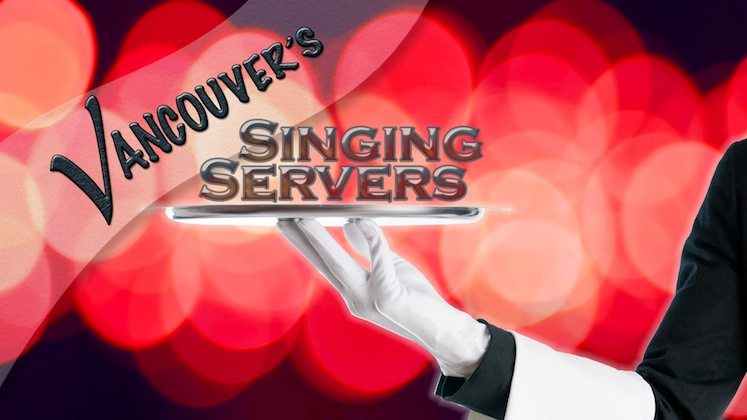 """Vancouver's Singing Servers feature vocalists dressed in the same attire as the serving staff embedded with the other waiters. The singers would interact with the guests performing simple server duties to establish their characters. One of the servers would begin to hum a classic doo-wop song to himself. Another begins to clink glasses in a rhythmic manner…a third begins to snap her fingers. Suddenly another waiter begins to sing and a musical call & response takes place across the room as wonderment sweeps over the ballroom. Each of these musical elements come together as the Singing Servers move amongst the guests. The group breaks into a four part of a cappella sounds of Huey Lewis' """"That's Alright' as they converge onto the stage. After brief introductions the ensemble performs their signature vocal arrangement of the epic Rock Song """"Bohemian Rhapsody"""" by Queen. The show continues with a musical revue of Broadway and popular songs performed with the energy and excitement of the popular Television show """"Glee"""". Vancouver's Singing Servers feature four of our city's top singer/entertainers each with vast musical theatre experience."""